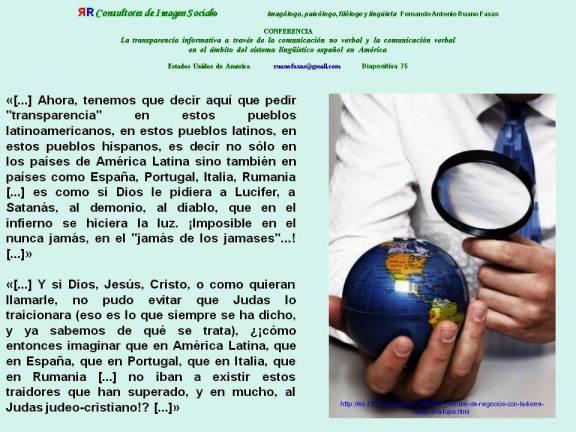 FERNANDO ANTONIO RUANO FAXAS. La transparencia informativa a través de la comunicación no verbal y la comunicación verbal en el ámbito del sistema lingüístico español en América