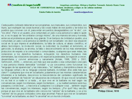 FERNANDO ANTONIO RUANO FAXAS. BARBARIE, DECADENCIA Y COLAPSO. Barbarie, Barbarity, Barbárie, Варварство