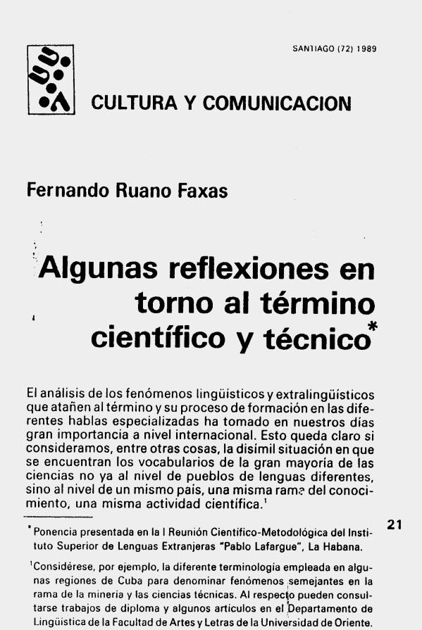 Fernando Antonio Ruano Faxas. ALGUNAS REFLEXIONES EN TORNO AL TÉRMINO CIENTÍFICO Y TÉCNICO. 1. Terminología, Terminografía, Lingüística, Filología, Imagología