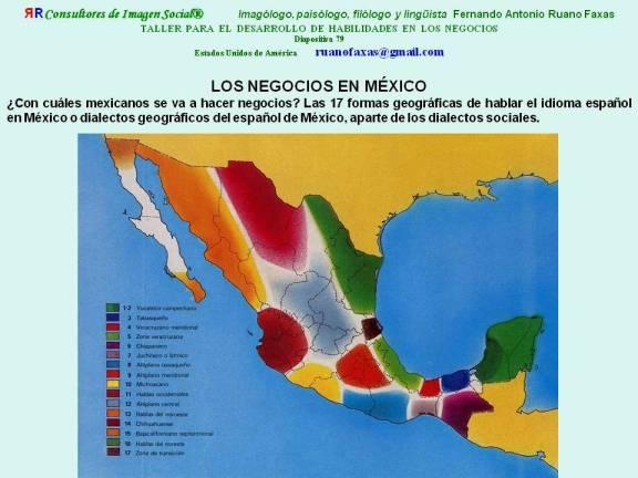 FERNANDO ANTONIO RUANO FAXAS. CÓMO HABLAN EL IDIOMA ESPAÑOL LOS MEXICANOS. INFLUENCIA DE LENGUAS INDÍGENAS EN MÉXICO. DIALECTOS DEL ESPAÑOL DE MÉXICO. BUSINESS IN MEXICO. NEGOCIOS EN MÉXICO