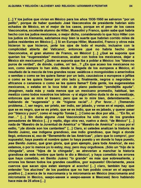 FERNANDO ANTONIO RUANO FAXAS. IMAGOLOGÍA, PAISOLOGÍA. ALQUIMIA Y RELIGIÓN, ALCHEMY AND RELIGION, АЛХИМИЯ И РЕЛИГИЯ. MÉXICO, VASCONCELOS, RACISMO, SEGREGACIÓN, JUDÍOS, EUGENESIA