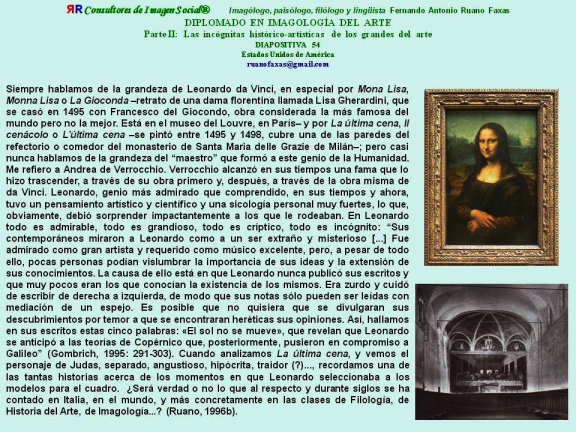 FERNANDO ANTONIO RUANO FAXAS. Filología Italiana, Imagología Italiana. Vida y obra de Leonardo da Vinci.