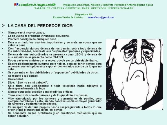FERNANDO ANTONIO RUANO FAXAS. NONVERBAL COMMUNICATION, COMUNICACIÓN NO VERBAL, COMUNICAÇÃO NÃO VERBAL НЕВЕРБАЛЬНОЕ ОБЩЕНИЕ. TALLER DE CULTURA GERENCIAL. 88