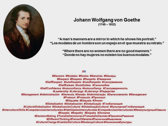 FERNADO ANTONIO RUANO FAXAS. IMAGOLOGÍA. GOETHE. A man's manners are a mirror in which he shows his portrait, Where there are no women there are no good manners.