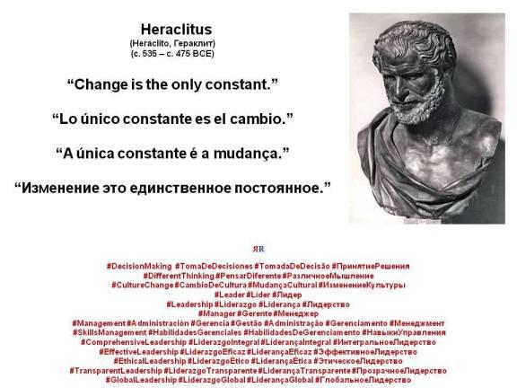 FERNANDO ANTONIO RUANO FAXAS. Heraclitus, Heráclito, Гераклит. Change is the only constant. Lo único constante es el cambio. A única constante é a mudança. Изменение это единственное постоянное