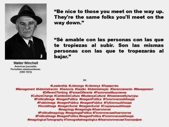 FERNANDO ANTONIO RUANO FAXAS. IMAGOLOGÍA. LIDERAZGO, MANAGEMENT. Walter Winchell. Be nice to those you meet on the way up. They're the same folks you'll meet on the way down