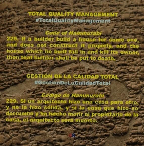 FERNANDO ANTONIO RUANO FAXAS, PAULINA RENDON AGUILAR. Code of Hammurabi, Código de Hammurabi. Total Quality Management, Gestión de la Calidad Total. Management, Gerencia, Administración. Leadership, Liderazgo