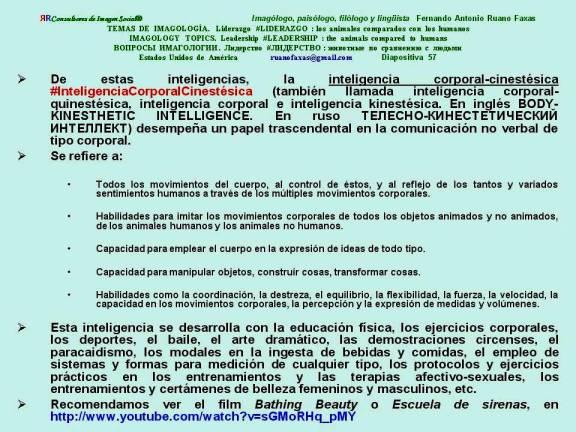 FERNANDO ANTONIO RUANO FAXAS. INTELIGENCIA CORPORAL-CINESTÉSICA, BODY-KINESTHETIC INTELLIGENCE, ТЕЛЕСНО-КИНЕСТЕТИЧЕСКИЙ ИНТЕЛЛЕКТ