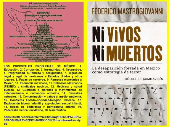 FERNANDO ANTONIO RUANO FAXAS,Los principales problemas de México.FEDERICO MASTROGIOVANNI,Ni vivos ni muertos.CORRUPCIÓN,IMPUNIDAD, SECUESTRO,DESAPARICIÓN FORZADA,MIGRACIÓN,NARCOTRÁFICO,PEDERASTIA,PEDOFILIA, NIÑOS