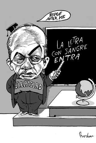 FERNANDO ANTONIO RUANO FAXAS. FELIPE CALDERÓN EN HARVARD, CARICATURA DE ROCHA EN LA JORNADA