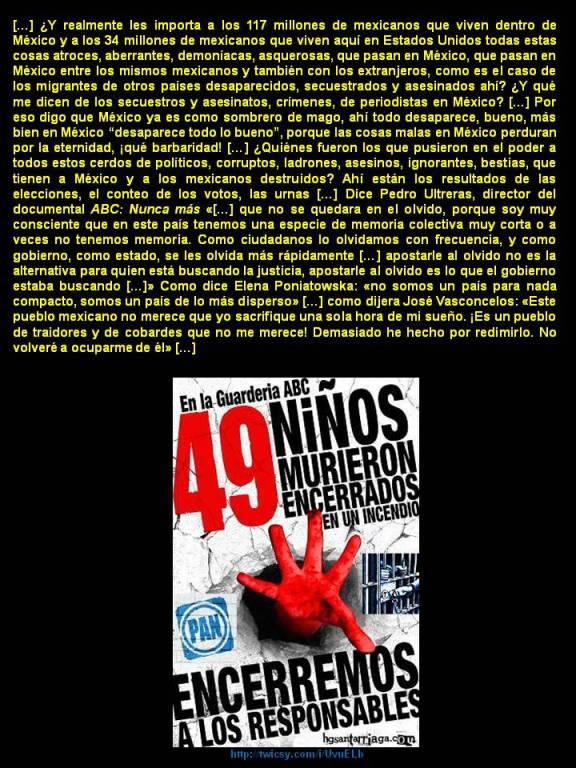 FERNANDO ANTONIO RUANO FAXAS. GUARDERÍA ABC, EN MÉXICO 49 NIÑOS MURIERON ENCERRADOS EN UN INCENDIO. MÉXICO SE HA CONVERTIDO EN UN SOMBRERO DE MAGO, LAS COSAS DESAPARECEN Y NADIE NUNCA SABE NADA