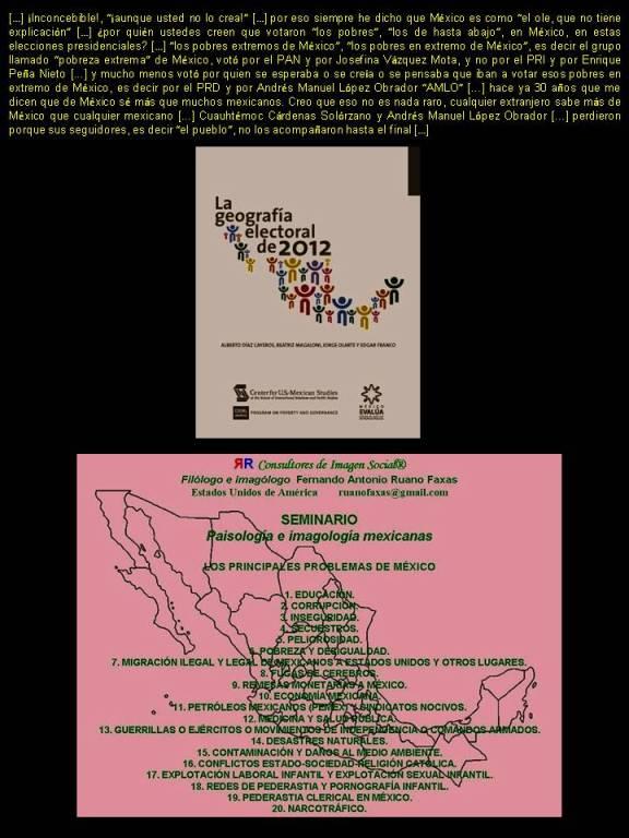 FERNANDO ANTONIO RUANO FAXAS. INCONCEBIBLE, EN ESTAS ELECCIONES PRESIDENCIALES DE MÉXICO LOS MÁS POBRES VOTARON POR EL PAN Y JOSEFINA VÁZQUEZ MOTA, Y NO POR EL PRI Y PEÑA NIETO. MUCHO MENOS POR ANDRÉS MANUEL LÓPEZ OBRADOR