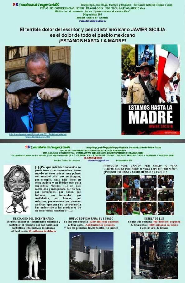 FERNANDO ANTONIO RUANO FAXAS. JAVIER SICILIA. POR FIN CUÁNTOS SON LOS MUERTOS EN MÉXICO. EL PUEBLO MEXICANO ES INCAPAZ DE VER LO QUE HACEN LOS POLÍTICOS. CEGUERA SOCIAL, UTOPÍA, DISTOPÍA, MACROMANÍA Y MICROMANÍA EN MÉXICO