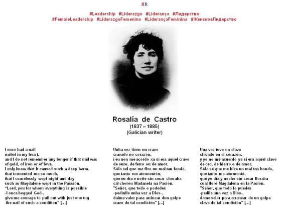PAULINA RENDÓN AGUILAR. Rosalía de Castro. I once had a nail, Unha vez tiven un cravo, Una vez tuve un clavo. LEADERSHIP, LIDERAZGO