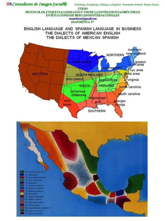 FERNANDO ANTONIO RUANO FAXAS. DIALECTOS DEL INGLÉS Y DEL ESPAÑOL. ENGLISH LANGUAGE AND SPANISH LANGUAGE IN BUSINESS. THE DIALECTS OF AMERICAN ENGLISH. THE DIALECTS OF MEXICAN SPANISH