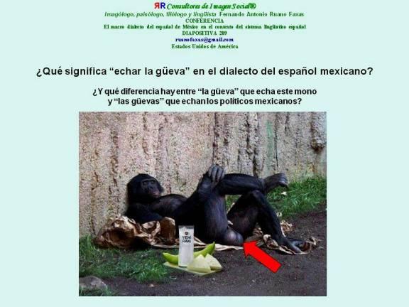 FERNANDO ANTONIO RUANO FAXAS. El idioma español de México. Y qué diferencia hay entre la güeva que echa este mono y las güevas que echan los políticos mexicanos