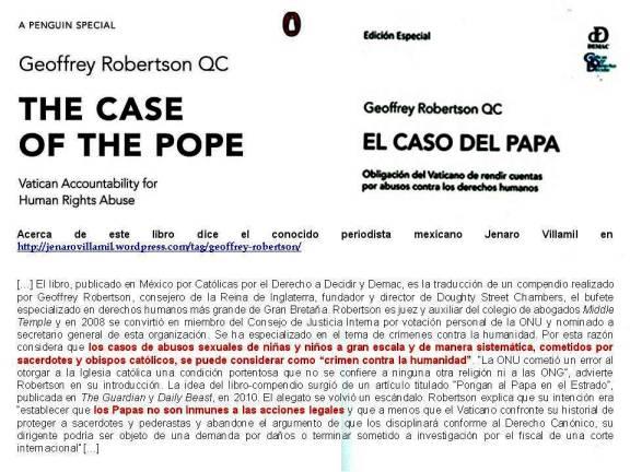FERNANDO ANTONIO RUANO FAXAS. Geoffrey Robertson QC. The Case of the Pope, Vatican Accountability for human Rights Abuse. El caso del Papa, obligacion del Vaticano de rendir cuentas por abusos contra los derechos humanos.