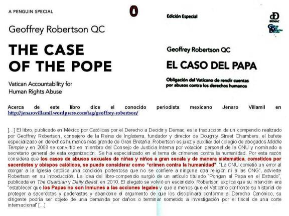 FERNANDO ANTONIO RUANO FAXAS. Geoffrey Robertson QC. The Case of the Pope, Vatican Accountability for human Rights Abuse. El caso del Papa, obligacion del Vaticano de rendir cuentas por abusos contra los derechos humanos.