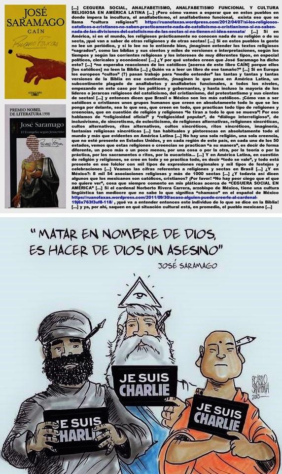 FERNANDO ANTONIO RUANO FAXAS. IMAGOLOGÍA, PAISOLOGÍA, RELIGIÓN, RELIGIONES, TERRORISMO. MATAR EN NOMBRE DE DIOS ES HACER DE DIOS UN ASESINO, SARAMAGO