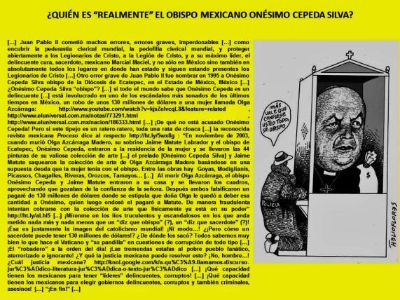 QUIÉN ES REALMENTE EL OBISPO MEXICANO ONÉSIMO CEPEDA SILVA. RELIGIÓN, RELIGIONES, CATOLICISMO, CRISTIANISMO, MÉXICO, VATICANO, JUAN PABLO II