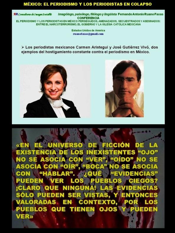 FERNANDO ANTONIO RUANO FAXAS. IMAGOLOGÍA, PAISOLOGÍA. MÉXICO, EL PERIODISMO Y LOS PERIODISTAS EN COLAPSO. CARMEN ARISTEGUI, JOSÉ GUTIÉRREZ VIVÓ