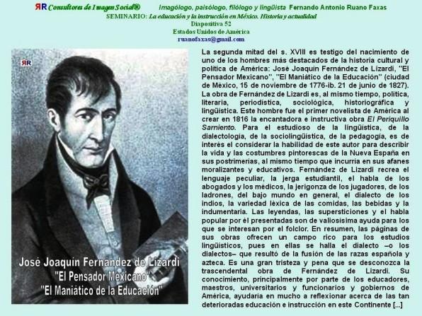 FERNANDO ANTONIO RUANO FAXAS. JOSÉ JOAQUÍN FERNÁNDEZ DE LIZARDI, EDUCACIÓN E INSTRUCCIÓN EN MÉXICO, CORRUPCIÓN Y ROBOS EN MÉXICO, PROTOCOLO Y ETIQUETA