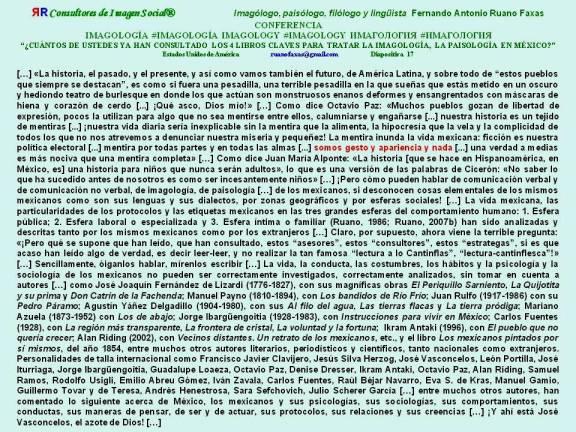 FERNANDO ANTONIO RUANO FAXAS. IMAGOLOGÍA, IMAGOLOGY, ИМАГОЛОГИЯ. CUÁNTOS DE USTEDES YA HAN CONSULTADO LOS 4 LIBROS CLAVES PARA TRATAR LA IMAGOLOGÍA, LA PAISOLOGÍA EN MÉXICO.