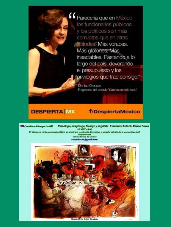 FERNANDO ANTONIO RUANO FAXAS. Denise Dresser. Parecería que en México los funcionarios públicos y los políticos son más corruptos que en otras latitudes. CABRAS COMELO TODO