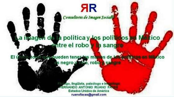 FERNANDO ANTONIO RUANO FAXAS. La imagen de la política y los políticos en México entre el robo y la sangre. El color de las manos de los políticos en México es negro y rojo
