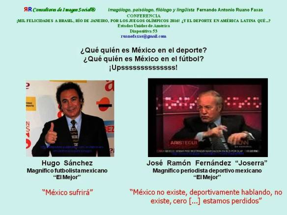 FERNANDO ANTONIO RUANO FAXAS. MÉXICO, DEPORTES, FÚTBOL. HUGO SÁNCHEZ, México sufrirá. JOSÉ RAMÓN FERNÁNDEZ JOSERRA, México no existe, deportivamente hablando, no existe, cero, estamos perdidos.