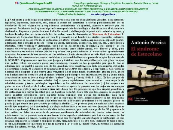 FERNANDO ANTONIO RUANO FAXAS. Síndrome de Estocolmo, Stockholm syndrome, Стокгольмский синдром