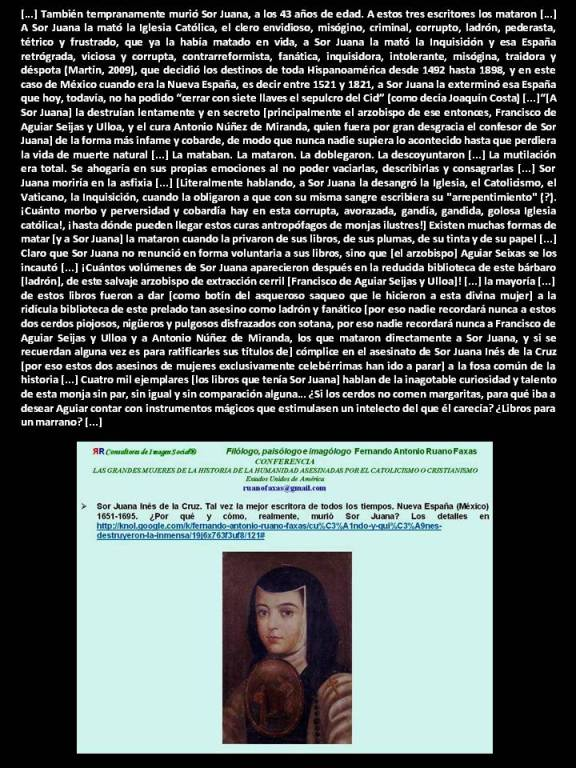FERNANDO ANTONIO RUANO FAXAS. Quiénes mataron a Sor Juana Inés de la Cruz, Хуана Инес де ла Крус