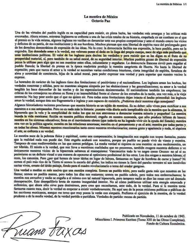 FERNANDO ANTONIO RUANO FAXAS. OCTAVIO PAZ, LA MENTIRA, MÉXICO