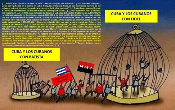 CUBA Y LOS CUBANOS CON FULGENCIO BATISTA. CUBA Y LOS CUBANOS CON FIDEL CASTRO. DICTADURA, DICTADURAS, DICTADOR, DICTADORES, DERECHOS HUMANOS, LIBERTAD
