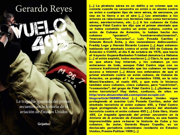FERNANDO ANTONIO RUANO FAXAS. CUBA, CUBANOS, CUBANA DE AVIACIÓN, TERRORISMO, TERRORISTAS. Vuelo 495, La tragedia ignorada del primer secuestro en la historia de la aviación de Estados Unidos. Gerardo Reyes Copello