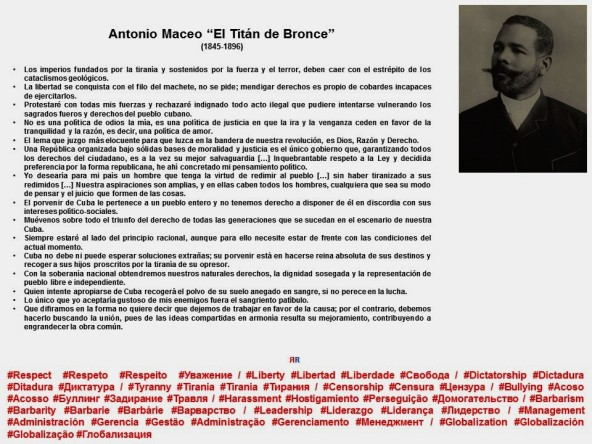 FERNANDO ANTONIO RUANO FAXAS. DICTADURA, DICTADURAS, TIRANÍA, TIRANÍAS, FRASES DE ANTONIO MACEO. CUBA, CUBANOS