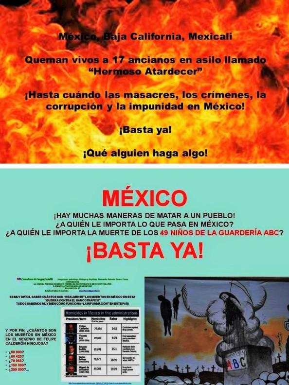 MÉXICO, BARBARIE, MASACRES, IMAGOLOGÍA, ELECCIONES, MEXICANIZACIÓN. Queman vivos a 17 ancianos en asilo Hermoso Atardecer en Mexicali, Baja California y a 49 niños en Hermosillo, Sonora, Guardería ABC