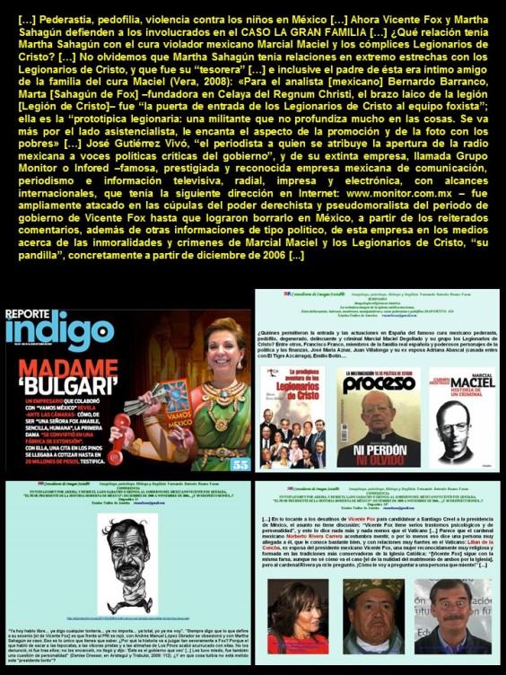 PEDERASTIA, PEDOFILIA, MÉXICO. Vicente Fox y Martha Sahagún, ex tesorera de los Legionarios de Cristo, Marcial Maciel, ahora defienden a Rosa María Verduzco MAMÁ ROSA, de LA GRAN FAMILIA