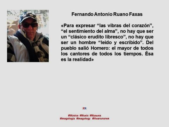 FERNANDO ANTONIO RUANO FAXAS. IMAGOLOGÍA, MÚSICA, FILOLOGÍA, LINGÜÍSTICA