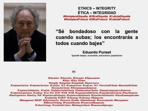 FERNANDO ANTONIO RUANO FAXAS. Eduardo Punset. Ética e integridad en las empresas multiculturales. Ethics and integrity in multicultural companies.