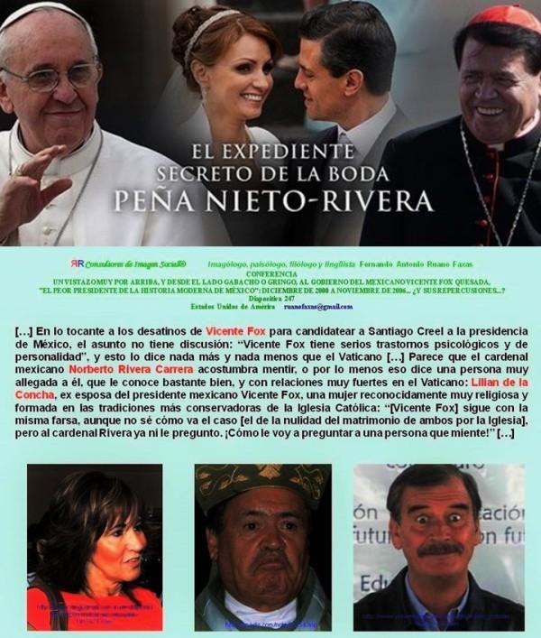 MEXICO, PAPA, FRANCISCO, VATICANO, NORBERTO RIVERA CARRERA, BODA, PEÑA NIETO, AMGELICA RIVERA, GAVIOTA, CORRUPCION, IMPUNIDAD, MARCIAL MACIEL, LEGIONARIOS DE CRISTO, PEDERASTIA, PEDOFILIA