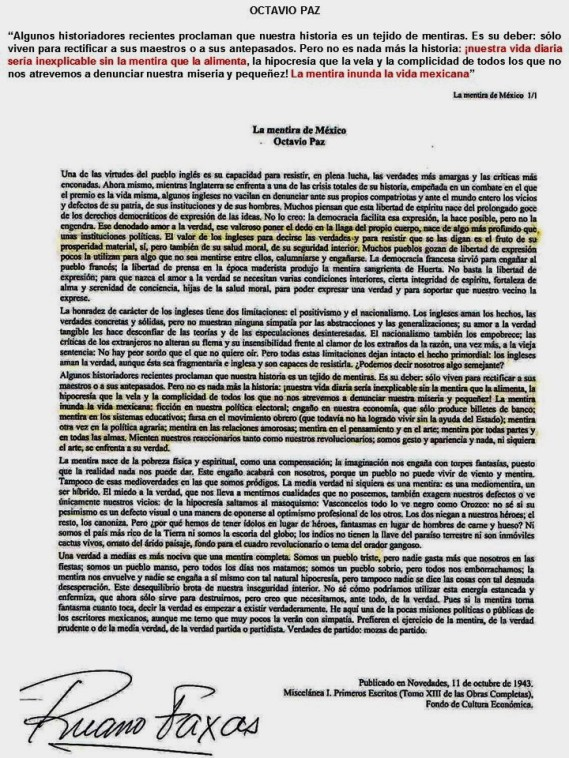 FERNANDO ANTONIO RUANO FAXAS. IMAGOLOGÍA. Octavio Paz. Nuestra vida diaria sería inexplicable sin la mentira, La mentira inunda la vida mexicana