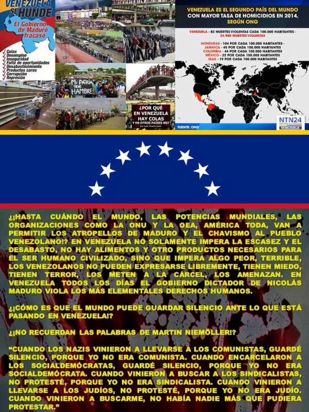 VENEZUELA, CHÁVEZ, CHAVISMO, MADURO, CORRUPCIÓN, IMPUNIDAD, DICTADURA, TIRANÍA, ESCASEZ, DESABASTO, ELECCIONES, PRESOS, OPOSICIÓN, OPOSITORES, DISIDENCIA, DISIDENTES. COMO CUBA, CASTRO, COMUNISMO, SOCIALISMO 