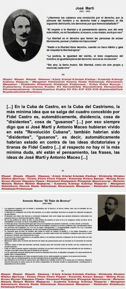 FERNANDO ANTONIO RUANO FAXAS. CUBA, CUBANOS. SI MARTÍ Y MACEO ESTUVIERAN VIVOS TAMBIÉN SERÍAN, SEGÚN FIDEL CASTRO, GUSANOS, DISIDENTES, OPOSITORES, TERRORISTAS