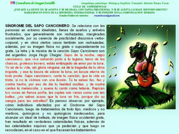 FERNANDO ANTONIO RUANO FAXAS. SÍNDROME DEL SAPO CANCIONERO. LA FELICIDAD EN CONTEXTO SITUACIONAL.