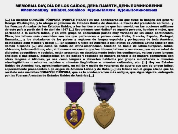 FERNANDO ANTONIO RUANO FAXAS. IMAGOLOGÍA. MEMORIAL DAY, DÍA DE LOS CAÍDOS, ДЕНЬ ПАМЯТИ, ДЕНЬ ПОМИНОВЕНИЯ, CORAZÓN PÚRPURA, PURPLE HEART