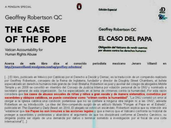FERNANDO ANTONIO RUANO FAXAS. Geoffrey Robertson QC. The Case of the Pope, Vatican Accountability for human Rights Abuse. El caso del Papa, obligacion del Vaticano de rendir cuentas por