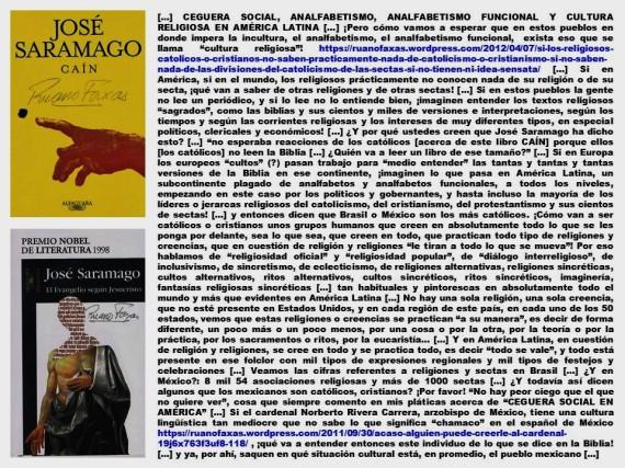FERNANDO ANTONIO RUANO FAXAS. IMAGOLOGÍA, PAISOLOGÍA. RELIGIÓN, RELIGIONES, CATOLICISMO, CRISTIANISMO, PROTESTANTISMO, JOSÉ SARAMAGO.