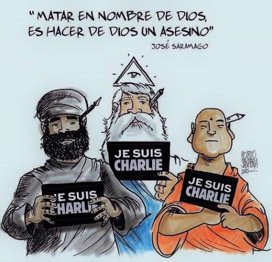 MATAR EN NOMBRE DE DIOS ES HACER DE DIOS UN ASESINO, José Saramago. RELIGIÓN, RELIGIONES, FUNDAMENTALISMO, EXTREMISMO, YIHAD, CHARLIE HEBDO