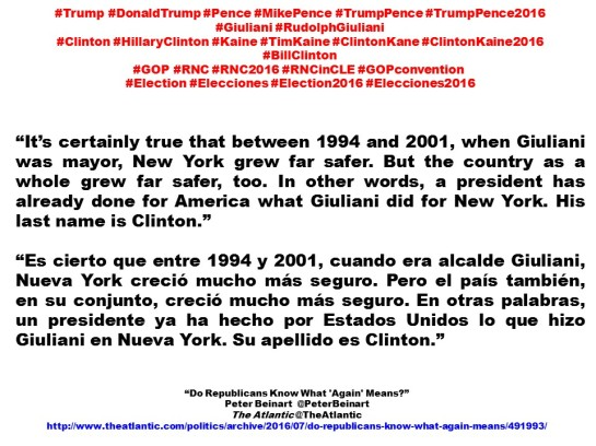 FERNANDO ANTONIO RUANO FAXAS. IMAGOLOGÍA, PAISOLOGÍA. Donald Trump, Mike Pence, Rudolph Giuliani, Bill Clinton, Hillary Clinton, Tim Kaine, 2016 GOP Convention, Republican National Convention, Peter Beinart, The Atlantic.